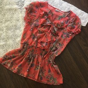 Poetry Coral Floral Ruffle V-Neck SS Blouse Size S